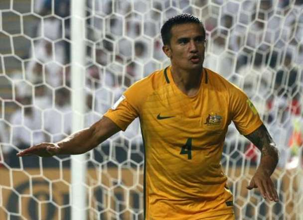 Australia's veteran talisma Tim Cahill celebrates after scoring a goal during their 2018 World Cup Asia qualifying match against United Arab Emirates, at the Mohammed Bin Zayed Stadium in Abu Dhabi, on September 6, 2016