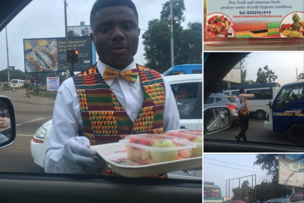 PHOTO OF A WELL DRESSED MAN SPOTTED SELLING FRUITS ON TRAFFIC IN GHANA GOES VIRAL